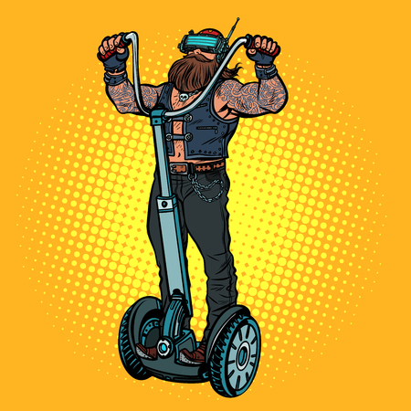 Biker on electric scooter, virtual reality, VR glasses
