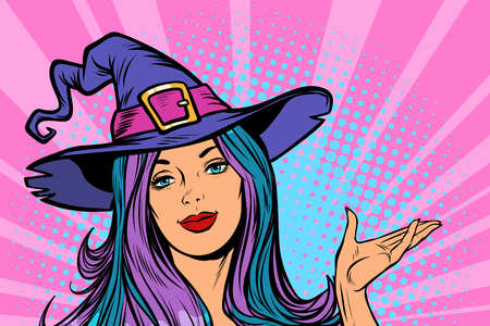 happy Halloween witch beautiful woman. Pop art retro vector illustration vintage kitsch Çizim