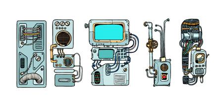 Mécanismes et machines des robots cyberpunk. Détails de l'espacecr