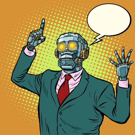 emotional speaker robot, dictatorship of gadgets Standard-Bild - 111423381