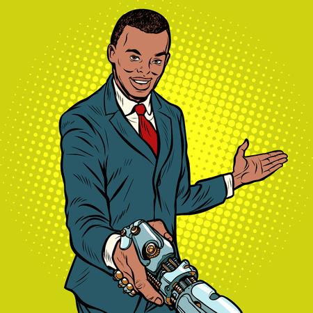 African businessman handshake to robot