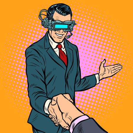 businessman shaking hands in virtual reality. Pop art retro vector illustration