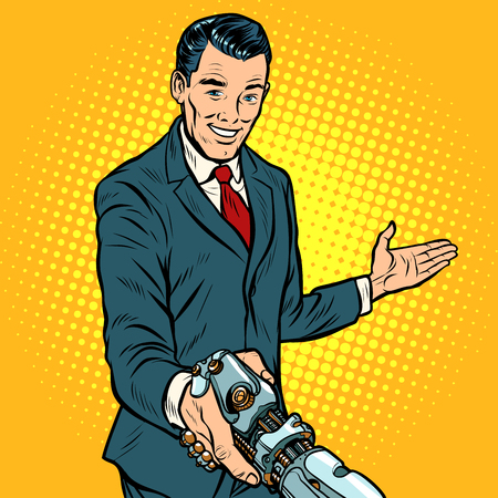 businessman shaking hands with robot, new technology Ilustrace