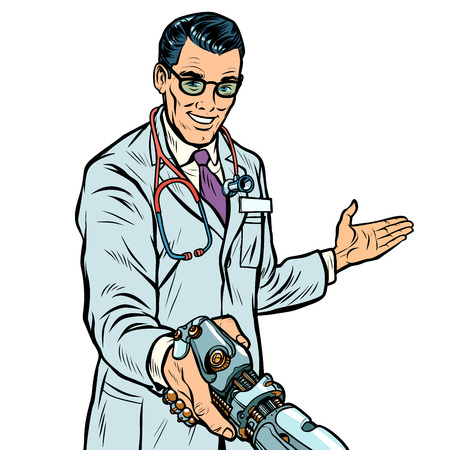 doctor handshake to robot, medicine and health care. Prosthesis