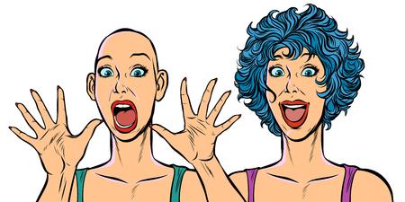Frau kahl und mit Haaren, menschliche Gesundheitsprobleme. Pop-Art Retro-Vektor-Illustration. Mädchen 80er Jahre Vektorgrafik