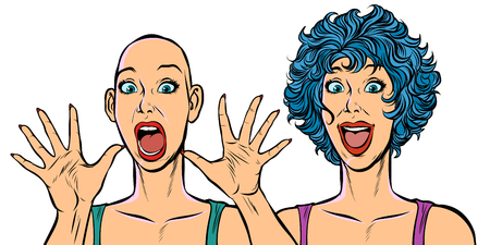 Woman bald and with hair, human health problems. Pop art retro vector illustration. Girls 80s Foto de archivo - 128167737