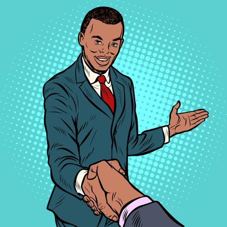 Afrikanischer Geschäftsmann, der Hände rüttelt. Retro-Vektorillustration der Pop-Art