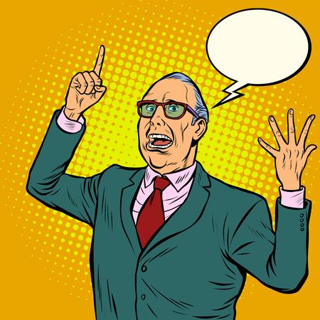 Stary człowiek emocjonalny mówca. Ilustracja wektorowa retro pop-artu