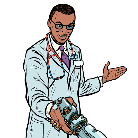 African doctor handshake robot, medicine and health care. Prosth