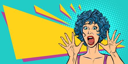 Frauenpanik, Angst, Überraschungsgeste. Pop-Art Retro-Vektor-Illustration. Mädchen 80er Jahre