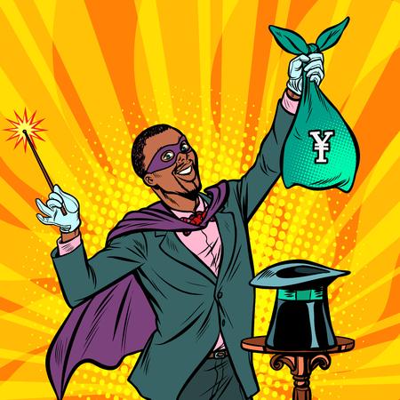 African Magician with yen money. Pop art retro vector illustration vintage kitsch