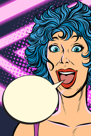 joyful surprise woman. Pop art retro vector illustration. Girls 80s Illustration