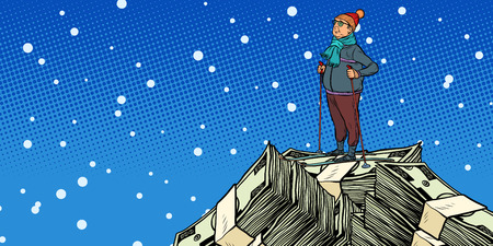 skier middle-aged man, Money dollars mountaintop. Pop art retro vector illustration vintage kitsch