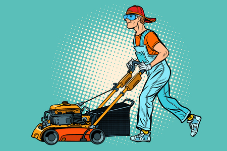 lawn mower worker. Profession and service. Pop art retro vector illustration vintage kitsch