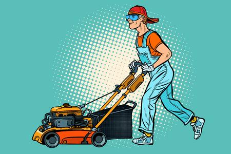 Rasenmäher Arbeiter. Beruf und Dienstleistung. Pop-Art Retro-Vektor-Illustration Vintage-Kitsch Vektorgrafik