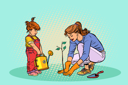 mother and daughter working in the garden, planting a seedling. Pop art retro vector illustration vintage kitsch
