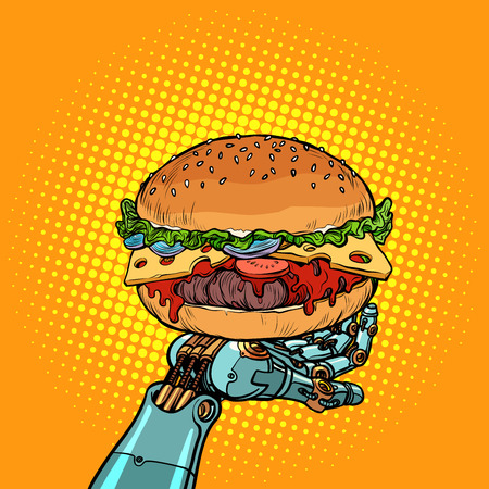 Burger on a robot arm. Pop art retro vector illustration vintage kitsch
