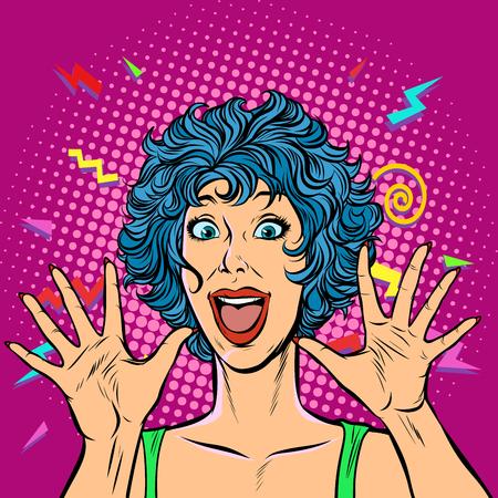 joyful woman, Girls 80s. Surprised cute smile. Pop art retro vector illustration. Girls 80s