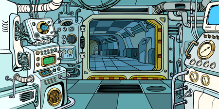 Cabina dell'astronave. Pop art retrò illustrazione vettoriale kitsch vintage