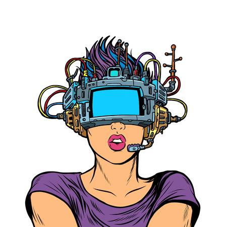 mujer sorprendida en gafas de realidad virtual. Aislado sobre fondo blanco. Pop art retro vector ilustración vintage kitsch