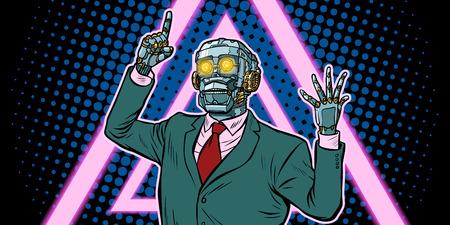 Cyberpunk 80s style. emotional speaker robot, dictatorship of gadgets. Pop art retro vector illustration