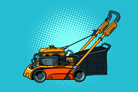 lawnmower mower lawn mower trimmer. Pop art retro vector illustration vintage kitsch