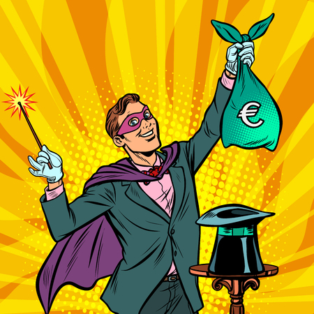 Magician with euro money. Pop art retro vector illustration vintage kitsch