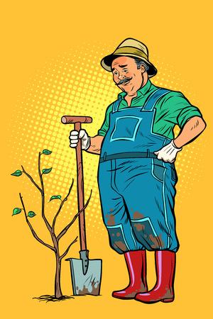 alter Gärtner pflanzt einen Sämling. Ökologie und Gartenarbeit. Bäume und Gartengeräte. Pop-Art Retro-Vektor-Illustration Vintage-Kitsch