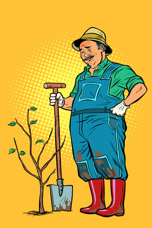 old gardener plants a seedling. ecology and gardening. trees and garden tools. Pop art retro vector illustration vintage kitsch Ilustração