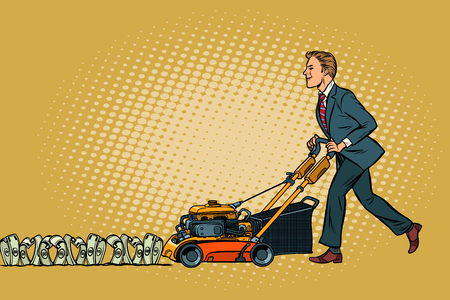 Businessman cuts money like a lawnmower man. Wealth and financial success. Pop art retro vector illustration vintage kitsch