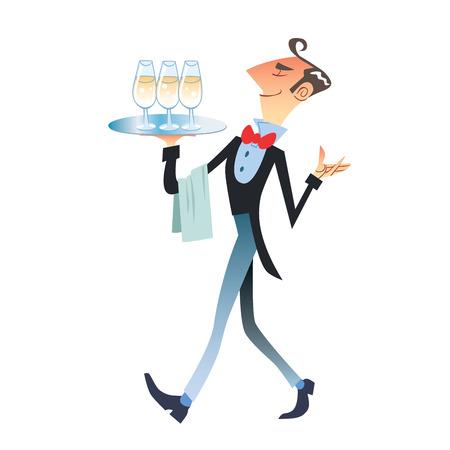 ober draagt champagne. Popart retro vector illustratie vintage kitsch