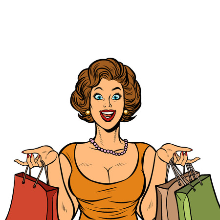 woman shopping on sale. Isolate on white background. Pop art retro vector illustration vintage kitsch