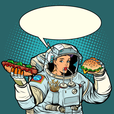 Woman astronaut eats. Cola, hot dog and Burger fast food. Pop art retro vector illustration kitsch vintage Illustration