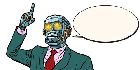 emotional speaker robot, dictatorship of gadgets. isolate on white background. Pop art retro vector illustration