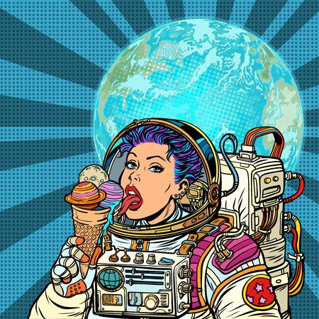 Une femme astronaute mange des planètes du système solaire, comme de la crème glacée. Concept d'humanité et de rêves cosmiques. Pop art rétro vector illustration kitsch vintage Vecteurs