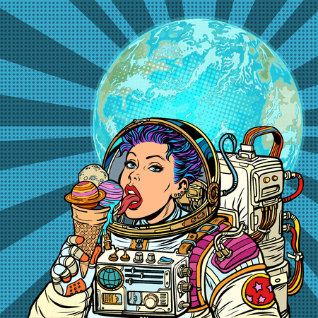 Woman astronaut eats planets of the solar system, like ice cream. Humanity and cosmic dreams concept. Pop art retro vector illustration vintage kitsch 일러스트