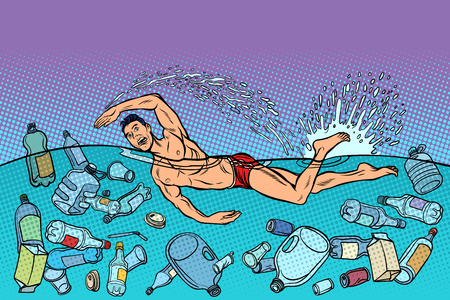 swimmer at sea. ocean pollution. ecology and plastic waste. Pop art retro vector illustration kitsch vintage Illusztráció