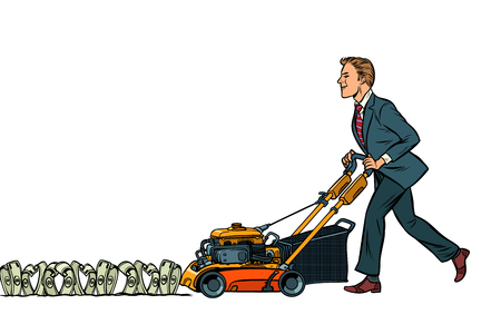 Businessman cuts money like a lawnmower man. Wealth and financial success. Isolate on white background. Pop art retro vector illustration vintage kitsch