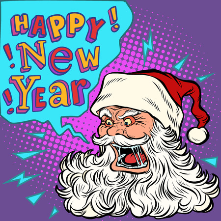 Bad Santa happy new year. Pop art retro vector illustration kitsch vintage