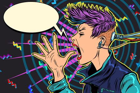 cyberpunk 80s niña mujer Ilustración de vector