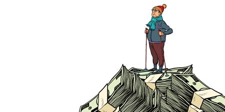 skier middle-aged man, Money dollars mountaintop. isolate on white background. Pop art retro vector illustration vintage kitsch