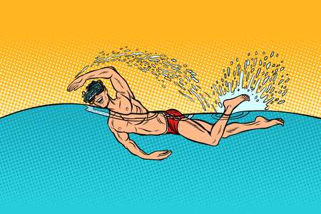 virtual reality glasses man swimmer swims. Pop art retro vector illustration vintage kitsch Foto de archivo - 127223482