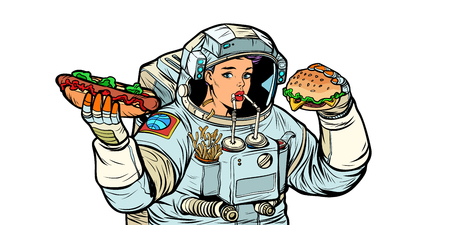 Woman astronaut eats. Cola, hot dog and Burger fast food. Isolat