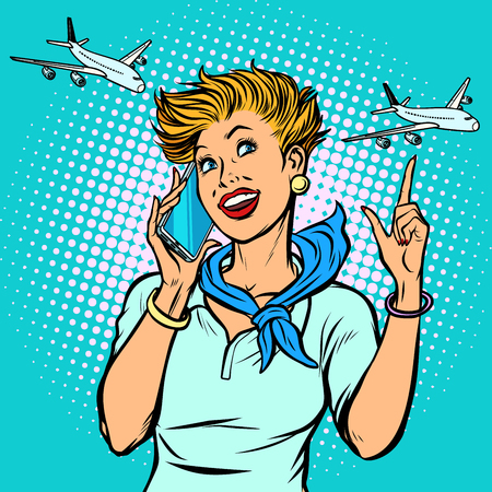 stewardess at the airport talking on the phone