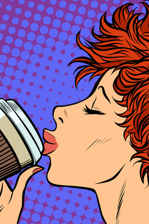 modern woman drinks a paper Cup of coffee. Pop art retro vector illustration. Girls 80s Illustration