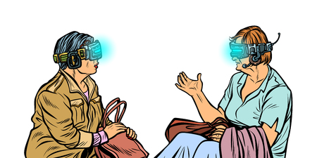 Older women in virtual reality, VR glasses Stock Photo