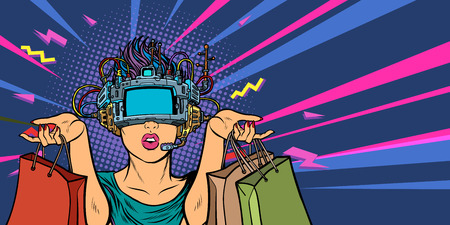 woman shopping on sale. virtual reality VR glasses Illustration