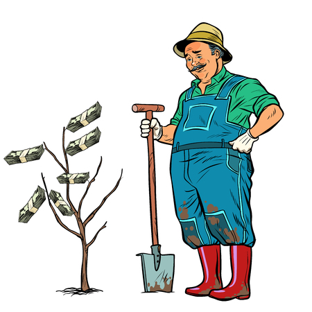 old gardener grows dollars on a tree. Pop art retro vector illustration kitsch vintage