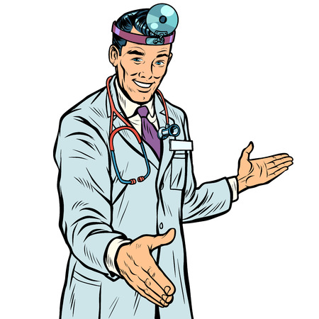 doctor therapist surgeon handshake. Pop art retro vector illustration kitsch vintage