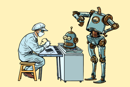 The robot came to repair the head. Electronics engineer speciali Zdjęcie Seryjne - 113195372